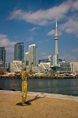 All Hail Toronto! (Benson Kua) Tags: city blue sky toronto ontario canada water statue clouds buildings downtown cntower happybirthday lakeontario rowangillespie img9084 175thanniversary irelandpark