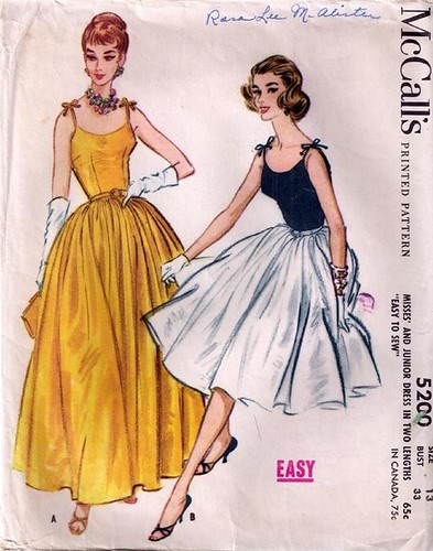 Vintage Sewing Pattern 40s Full Skirt Party Dress A Photo On Enchanting Vintage Dress Patterns 1950s