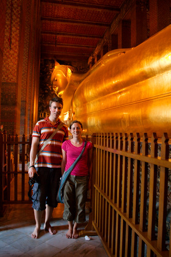 Karl Kristian and Veronica in front of the reclining Buddha