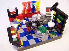 C'mon man! Hurry!! I got a BrickLink habit to pay for!!! (Dave Shaddix) Tags: lego vignette armedrobbery bricklink