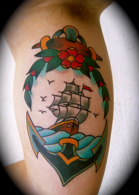 old school anchor and boat tattooed by johannes skindeeplove, (please do not