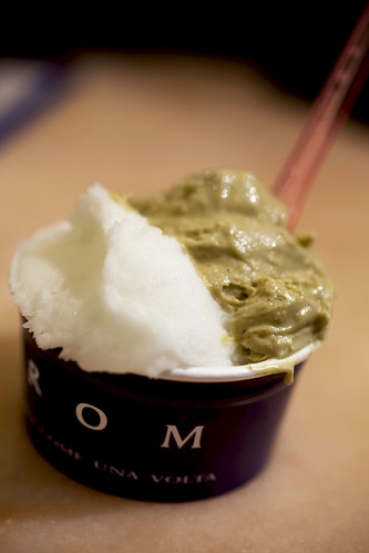 Pistachio gelato and lemon sorbet