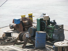 RIVER TOOLS AND MAINTENANCE ITEMS: workers are off on Sundays (roberthuffstutter) Tags: lines work boats screws drums sand midwest mechanical tools equipment machinery generator cables missouri rivers maintenance bolts tugs planks hoses channel rigging springtime containers kcmo dredging wrenches missouririver reels riverboats capstans riggings steelcable huffstutter toolsofatrade