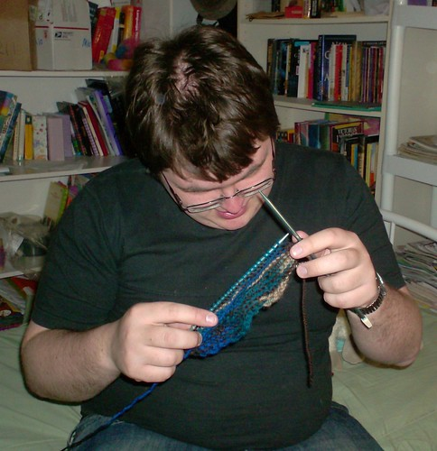 My boyfriend, learning how to knit