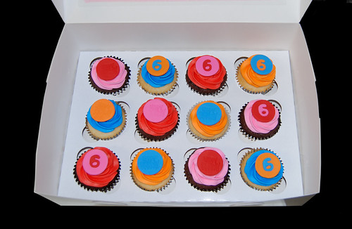6th birthday cupcakes red pink blue orange