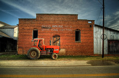 My Favorite Rural Scene (evanleavitt) Tags: county morning blue light orange tractor texture me rural america ga georgia this town king skies time decay south small country great tracks olympus every cotton american morgan hdr stops on the in e510 bostwick photomatix my