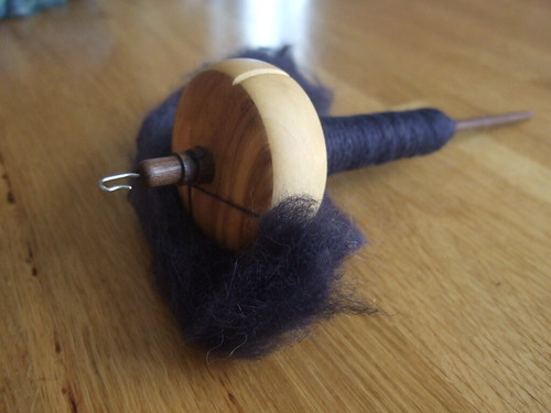 alpaca merino silk on olivewood spindle