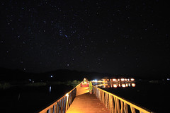 GIC again (without the seagulls but with starry sky) (Kyaw Photography) Tags: longexposure bridge landscape burma tripod inlelake nightscene shanstate canonefs1022mm freeburma canoneos450d 35seconds gichotel kyawphotography yeyintkyaw
