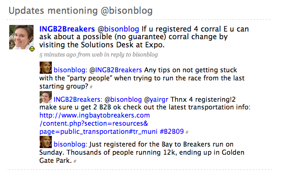 Excellent customer service via Twitter (from running race Bay to Breakers representative)
