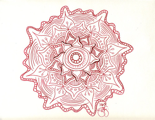 Mandala drawn with glass dip pen