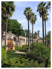 Alcázar of Seville - park 1 (Romeodesign) Tags: park castle garden palms sevilla spain fort palace seville moorish alcazar andalusia alcázar mudéjar alcázaresrealesdesevilla royalalcazarsofseville