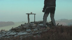 Frost Rock Balancing (escher is still alive) Tags: winter sculpture film movie sandstone frost january pebbles lancashire homage 2009 ephemeral landart naturalart enviro slabs gritstone rockbalancing andygoldsworthy pebblebalancing collpase enviroart richardshilling