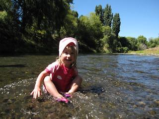 Hilary Anne Pawluk in the Esk River, Hawke's Bay, New Zealand