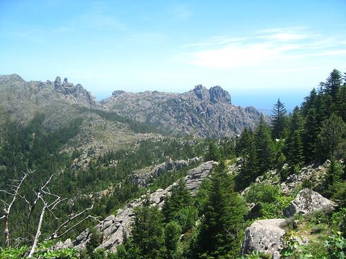 Traversée retour Apaseu - Funtanella : vue vers Bocca di Funtanella et Punta Furcuta