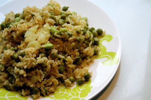 rice with peas and edamame