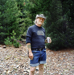 Jesse, Murray, Idaho (Jared Leeds) Tags: trees portrait usa beer smoking idaho photograph murray oneperson colorimage lookingatcamera adultmale dryriverbed threequarterslength squareimage goldprospector