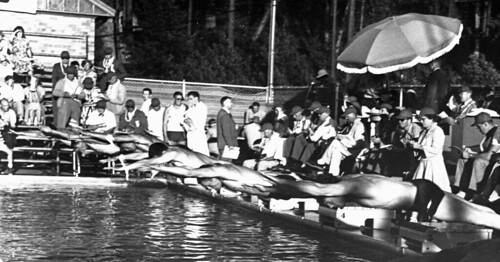 Swimming race at Colman Pool, circa 1960 by Seattle Municipal Archives