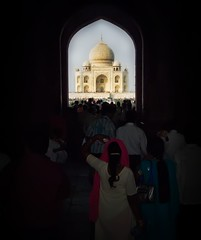 Approaching the Taj (Stuck in Customs) Tags: world travel sky india castle history love monument beautiful architecture kids wonderful temple souvenirs fantastic waiting view shot religion crowd memories sightseeing deep culture 7 taj tajmahal visit romance divine story international relationship mausoleum journey dome frame wife indians tradition capture eternity fatherhood marvelous trey pilgrim divinity loyal shah values faithful jahan beliefs hindou