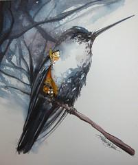 perfect little machine (Jennifer Kraska) Tags: bird watercolor hummingbird jennifer hummer kraska watchparts jenniferkraska