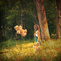 Hallucinations (Elonore Chellini) Tags: bear flowers portrait people woman flower tree green nature girl hair children photography child teddy dream hood conceptual hallucinations elonore chellini