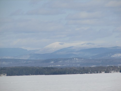 the Green Mountains as seen across frozen Lake Champlain
