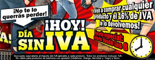Captura de la promoción del día sin IVA de MediaMarkt