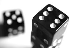 Dice (DavidRHScott) Tags: two white dice black macro four one three five six rollthedice
