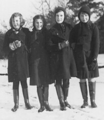 The girls (theirhistory) Tags: winter girls snow children coat gloves raincoat wellies snowballs bottescaoutchouc nationalchildrenshome