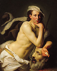 Zoffany, Johann (1733-1810) - 1756 Self Portrait as David With Head of Goliath (RasMarley) Tags: portrait german painter figure 18thcentury neoclassical realism 1756 1750s zoffany johannzoffany selfportraitofdavidwithheadofgoliath