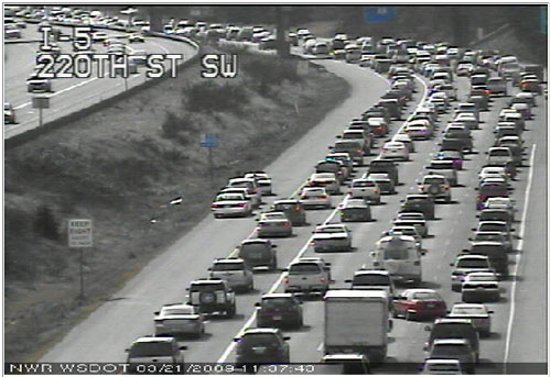 Weekend traffic jam on I-5, March 21