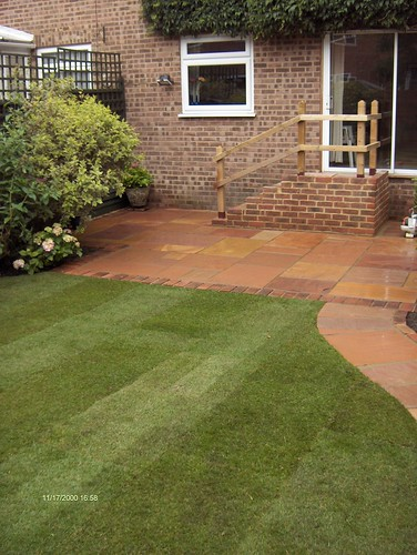 Indian Sandstone Patio and Lawn Image 20