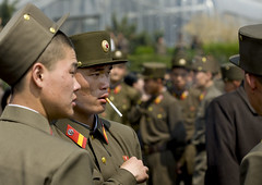 North Korea soldiers in Pyongyang - North Korea (Eric Lafforgue) Tags: pictures color colour horizontal soldier army photo war asia outdoor cigarette smoke picture explore kimjongil soldiers asie couleur soldat northkorea armee axisofevil pyongyang dictatorship dprk coreadelnorte april15 stalinist soldats traveldestinations exterieur kimilsung northkorean nordkorea 6017 dictature traveldestination kepis democraticpeoplesrepublicofkorea 15avril   coredunord coreadelnord  kimilsungia northcorea encouleur coreedunord axedumal rdpc  rpdc  coriadonorte northkoreanarmy  kimjongun coreiadonorte