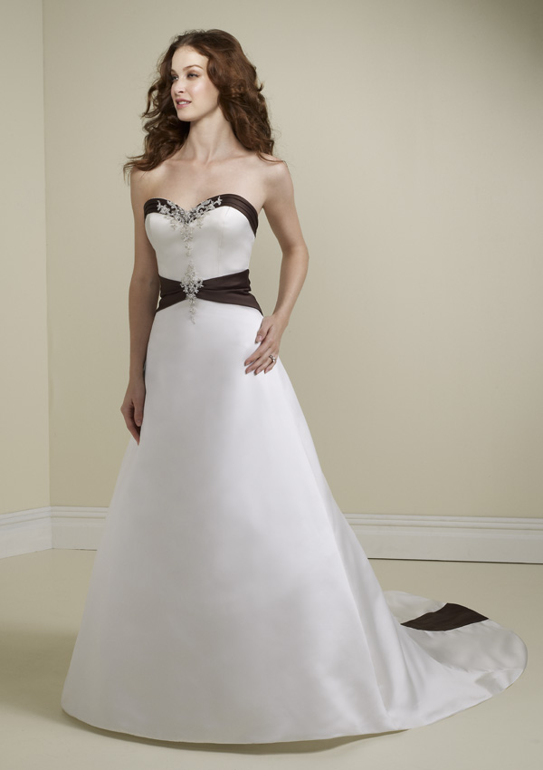 white wedding dress with black trim