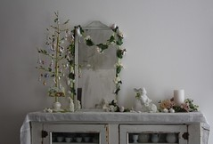 Easter Decorating (ivoryblushroses) Tags: flowers white bunnies easter decorating eggtreegarland