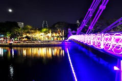 The Other Side of The Bank (Trim Reaper) Tags: bridge water reflections river lens lights boat nikon singapore colorful angle wide quay tokina hanging nightshots 116 d90 1116mm
