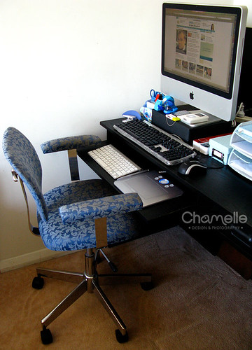 iMac desk setup workspace