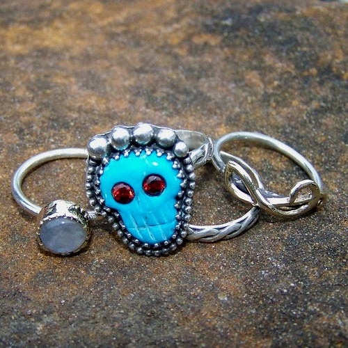 4 band stack Ring of Mictecacihuatl, day of the dead sterling silver and turquoise