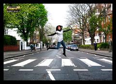 Txiki AbbeyRoad (lopezgarin) Tags: city inglaterra london jump elena beatles abbeyroad salto crosswalk thebeatles