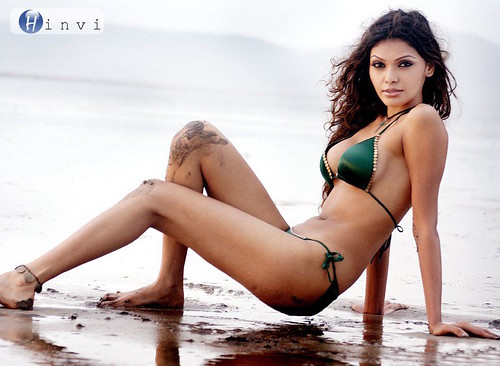 Sherlyn Mona Chopra in bikini on the beach