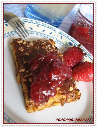 elmalı çilek reçeli,diyet kek ve meyve suyu