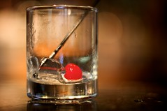An Ex-Whiskey Sour (Samer Farha) Tags: red ice glass cherry drink empty swizzlestick clarendon dcist arlingtonva whiskeysour faccialuna startingtheevening