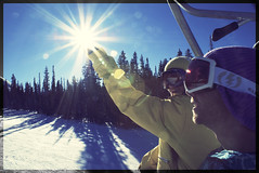 Keeping Your Hands Warm (cross processed) (ryans.armstrong) Tags: christmas trip trees sun snow mountains adam snowboarding holding colorado break cross board processing flare blair telluride process campbell kimbrough