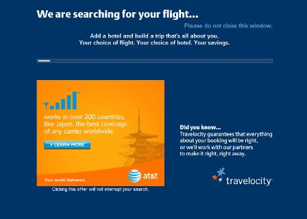 Travelocity results loading page