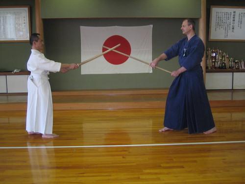 Practicing Jo with Kawamura Sempai