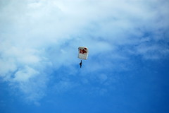 Red Bull parachutist entering the stadium to boos