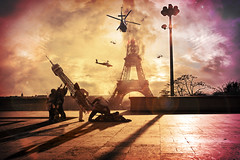 For our father's tower ! (Yvanobi) Tags: usa paris france art photoshop army fire design chopper war tour edited flag contest eiffel helicopters trocadero forourfathersflag