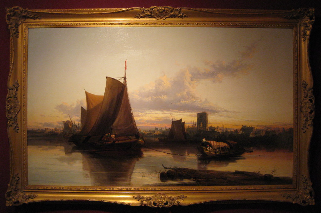 James Webb (British, 1825-1895) Sunset over Dordrecht Harbour. Oil on canvas. 28 3/4 by 49 in.