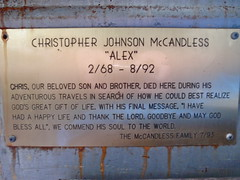 The Plaque in the Bus (ErikHalfacre) Tags: alaska hiking hike healy magicbus christophermccandless intothewild stampedetrail chrismccandless bus142 stampederoad