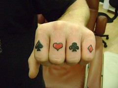 poker hand tattoo (tatzbyjustin) Tags: tattoo cool heart tattoos diamond awsome poker tatoos pimp clover tatoo tat spade tats tatz