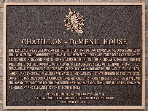 Chatillon - DeMenil House, in Saint Louis, Missouri, USA - Daughters of the American Revolution marker